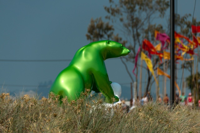 Green Polar Bear at Swell Sculpture Festival