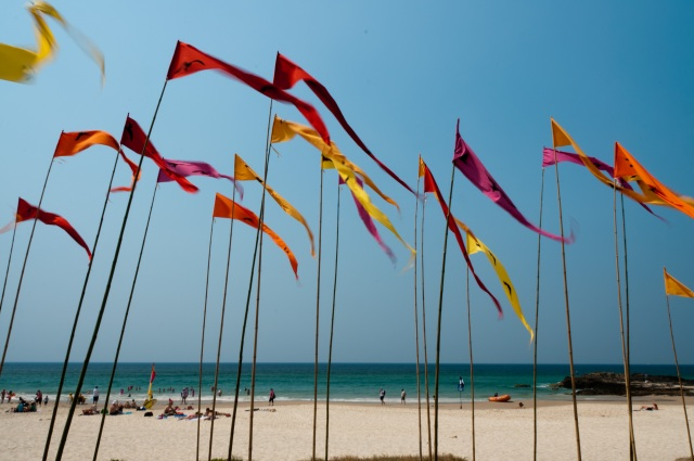 Swell Flag Sculpture on the beach