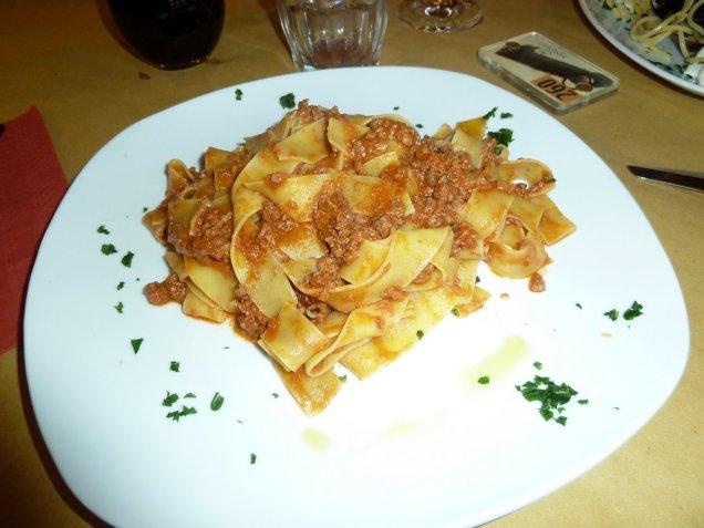 Wild boar ragu and pappardelle pasta, Siena