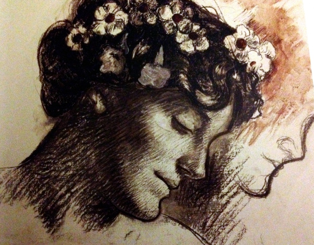 Rene Piot, Bust of Marie Piot, her hair scattered with flowers c1906