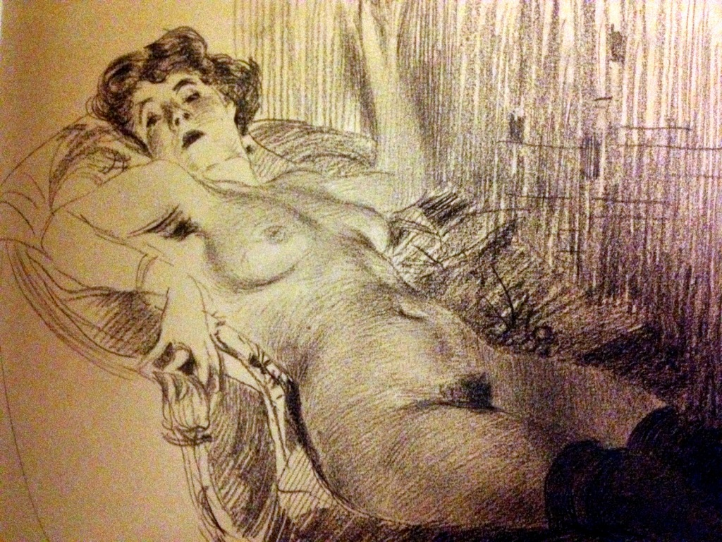 Giovanni Boldini, Nude woman in black stockings lying on a sofa c1880