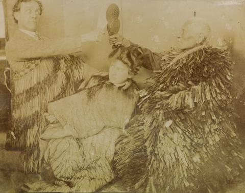 Wharepapa with Goldie holding patu